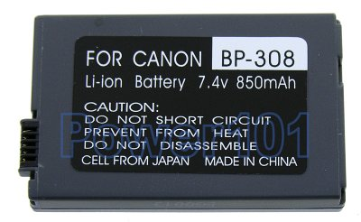 BP-308 battery for Canon Li-Ion 7.4V 850mAh