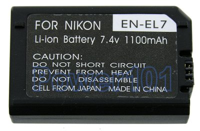 EN-EL7 battery for Nikon Li-Ion 7.4V 1100mAh