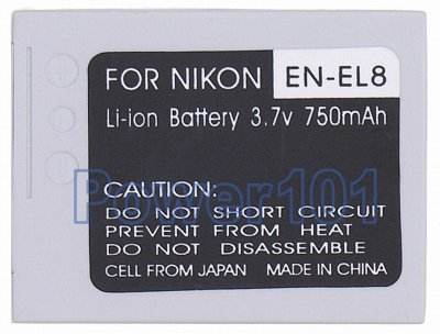 EN-EL8 battery for Nikon Li-Ion 3.7V 750mAh