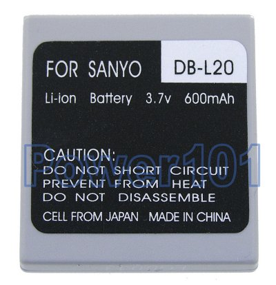 DB-L20 battery for Sanyo Li-Ion 3.7V 600mAh